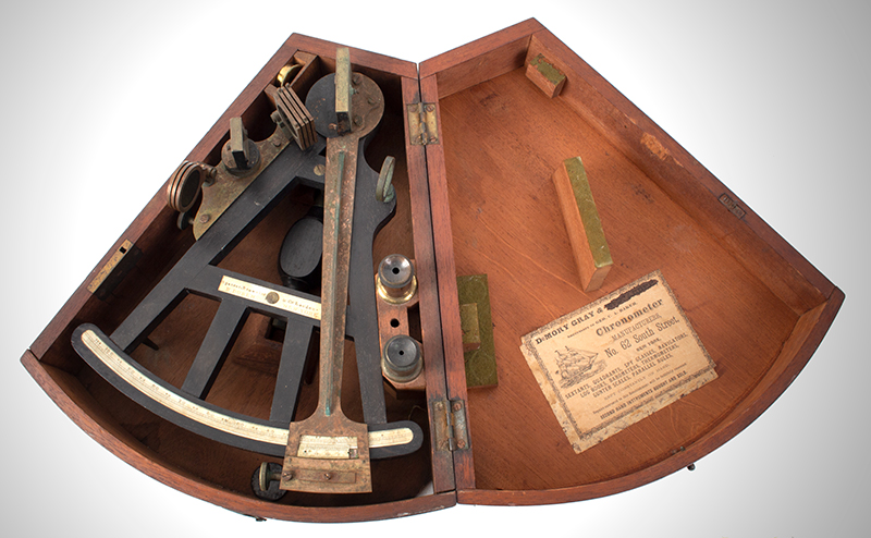 19th Century Octant, Spencer, Browning & Rust) Case with label of DeMORY GRAY, New York SECOND HAND [sic] INSTRUMENTS BOUGHT AND SOLD, in box view