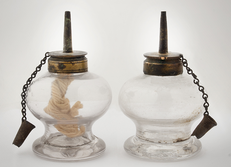 Colorless Blown Glass Sparking Lamp Unknown Maker, 19th Century, entire view