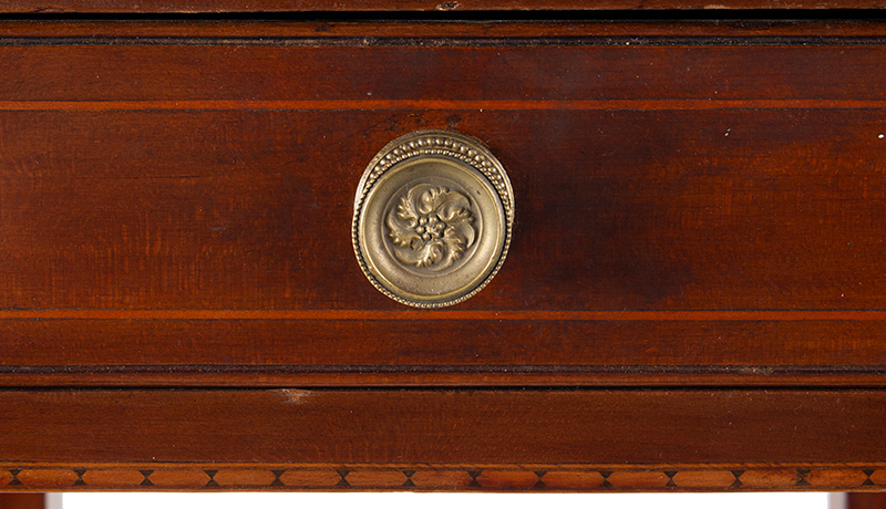 Antique, Single Drawer Country Stand, Inlaid Federal Cherrywood Table Connecticut River Valley, circa 1800 Cherry, poplar, and mixed wood inlays, appears to retain original brass pull, detail view 2