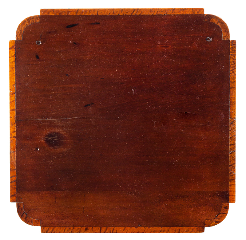 Antique, Single Drawer Country Stand, Inlaid Federal Cherrywood Table Connecticut River Valley, circa 1800 Cherry, poplar, and mixed wood inlays, appears to retain original brass pull, top view