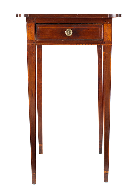 Antique, Single Drawer Country Stand, Inlaid Federal Cherrywood Table Connecticut River Valley, circa 1800 Cherry, poplar, and mixed wood inlays, appears to retain original brass pull, entire view 1