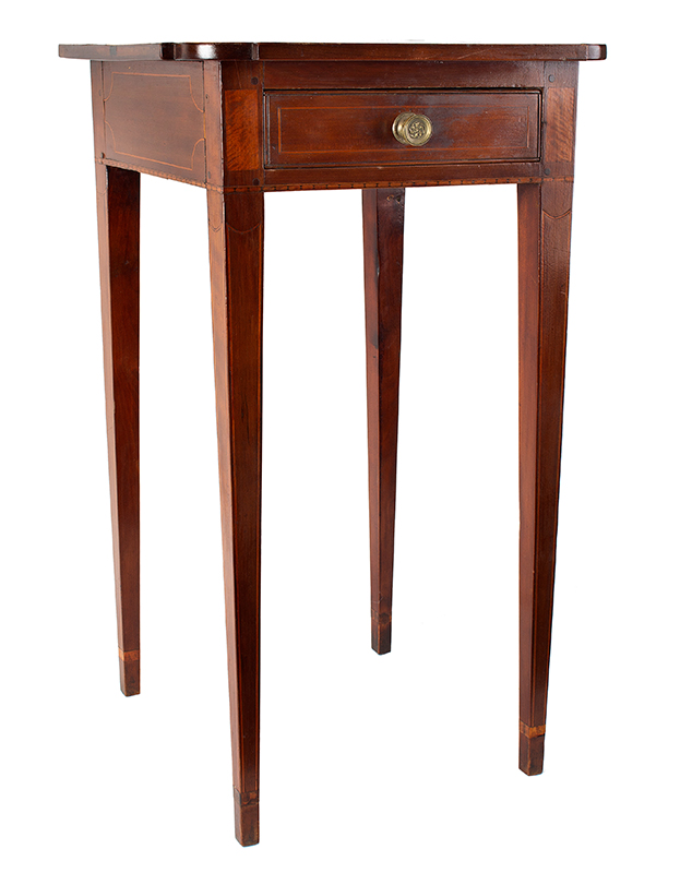 Antique, Single Drawer Country Stand, Inlaid Federal Cherrywood Table Connecticut River Valley, circa 1800 Cherry, poplar, and mixed wood inlays, appears to retain original brass pull, entire view 2