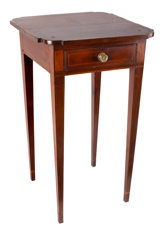Antique, Single Drawer Country Stand, Inlaid Federal Cherrywood Table Connecticut River Valley, circa 1800 Cherry, poplar, and mixed wood inlays, appears to retain original brass pull, entire view 3