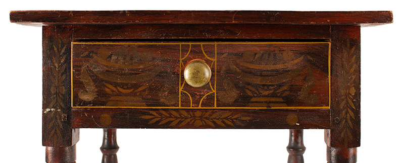 Antique One Drawer Painted Decorated Table Likely South Paris, Maine, Circa 1830 Basswood, paint, bronze powder stenciling, detail view