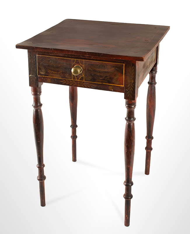 Antique One Drawer Painted Decorated Table Likely South Paris, Maine, Circa 1830 Basswood, paint, bronze powder stenciling, entire view 2