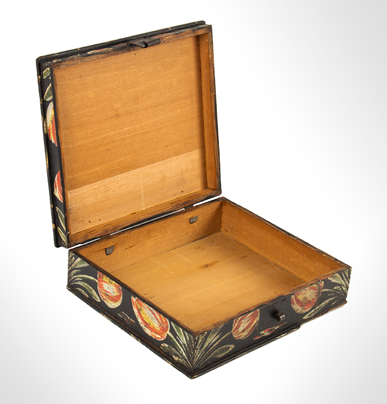 Paint Decorated Dresser Box, Bucher Box, Heinrich Bucher, Antique Trinket Box Pennsylvania, circa 1775-1825, open view