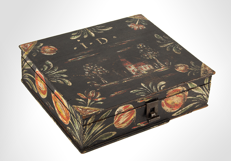 Paint Decorated Dresser Box, Bucher Box, Heinrich Bucher, Antique Trinket Box Pennsylvania, circa 1775-1825, angle view 1