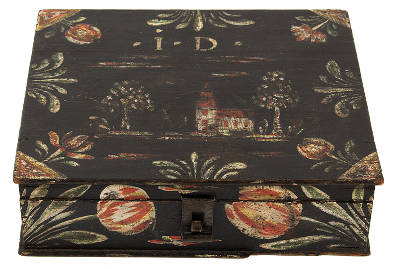 Paint Decorated Dresser Box, Bucher Box, Heinrich Bucher, Antique Trinket Box Pennsylvania, circa 1775-1825, entire view 1