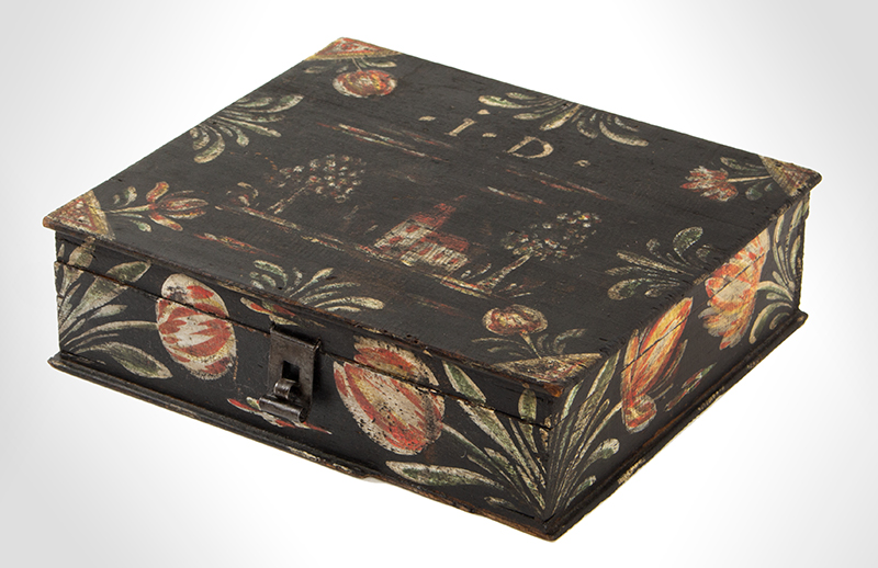 Paint Decorated Dresser Box, Bucher Box, Heinrich Bucher, Antique Trinket Box Pennsylvania, circa 1775-1825, angle view 2