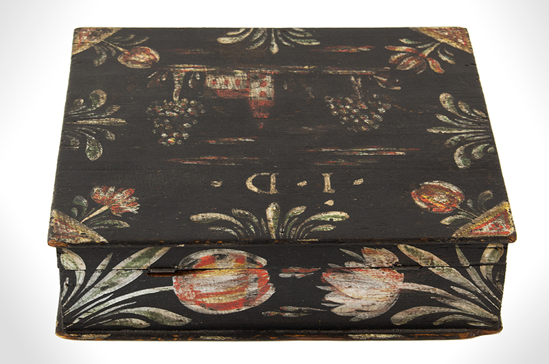 Paint Decorated Dresser Box, Bucher Box, Heinrich Bucher, Antique Trinket Box Pennsylvania, circa 1775-1825, entire view 2