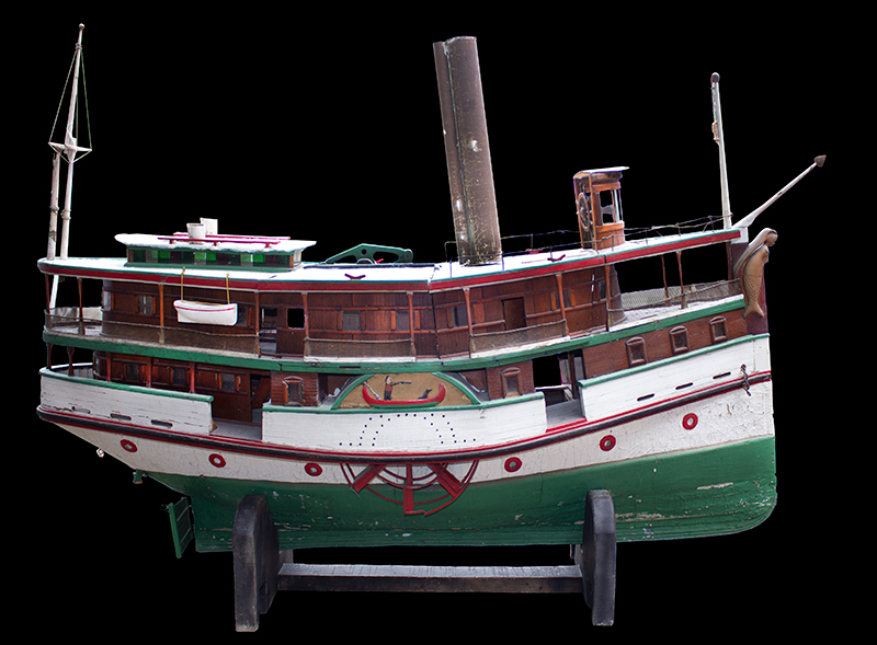 Antique Paddlewheel Boat Model, Marine Folk Art Anonymous, circa 1910-1925 Original painted surface, mermaid figurehead, carved wheel covers, entire view 1