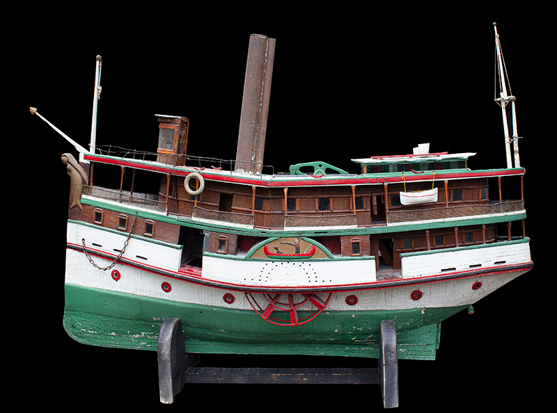 Antique Paddlewheel Boat Model, Marine Folk Art Anonymous, circa 1910-1925 Original painted surface, mermaid figurehead, carved wheel covers, entire view 2