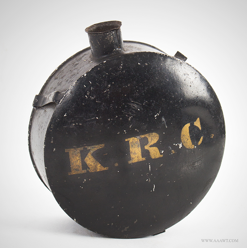 Painted & Lettered Civil War Militia Tin Canteen