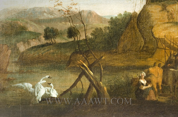 Over-Mantel Landscape Painting, Eighteenth Century,detail-4