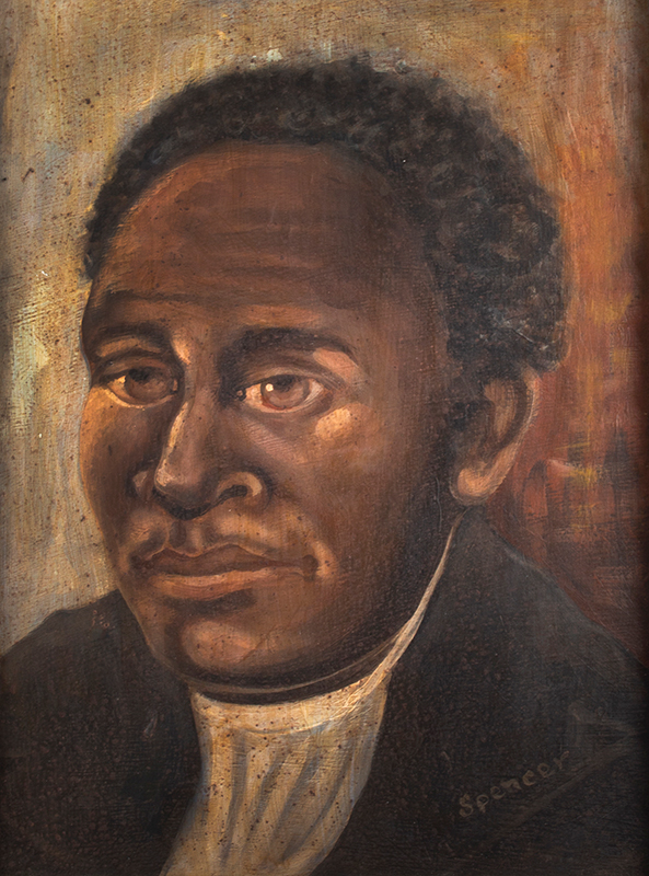 Vintage Portrait, African American Gentleman, African American Southern Artist Signed in oyster white paint: Spencer, Likely Circa 1900 Oil on academy, entire view sans frame