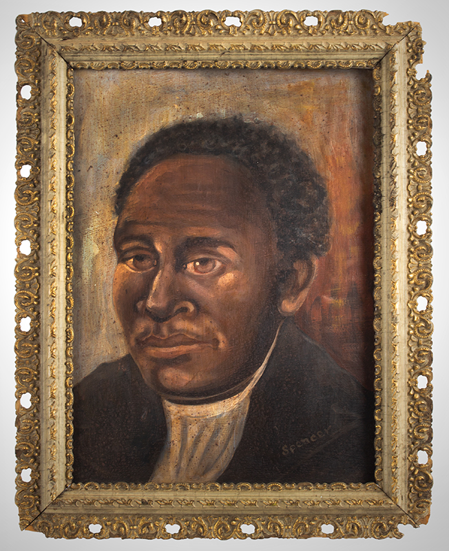 Vintage Portrait, African American Gentleman, African American Southern Artist Signed in oyster white paint: Spencer, Likely Circa 1900 Oil on academy, entire view