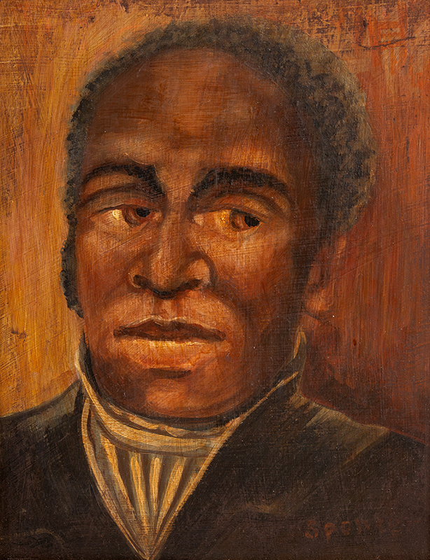 Vintage Portrait, African American Gentleman, African American Southern Artist Signed in brick red paint: Spencer, Likely Circa 1900 Oil on academy, entire view sans frame