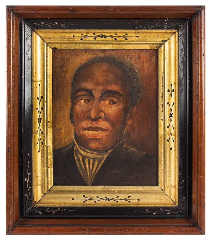 Vintage Portrait, African American Gentleman, African American Southern Artist Signed in brick red paint: Spencer, Likely Circa 1900 Oil on academy, entire view