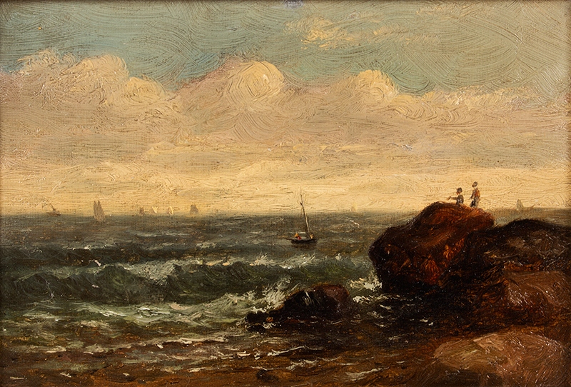 Edward Mitchell Bannister, Painting, Coastal Scene, Circa 1880s to Early 1890s Oil on canvas laid on wood board, original gold gilded gesso frame, entire view sans frame