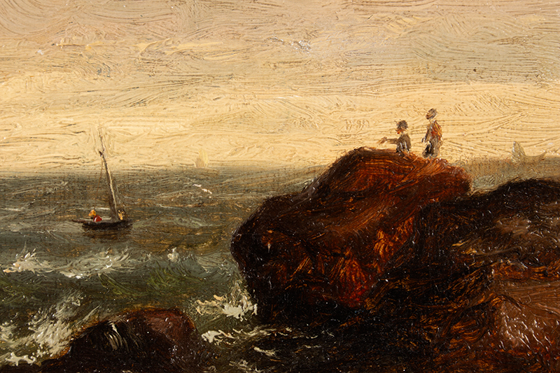 Edward Mitchell Bannister, Painting, Coastal Scene, Circa 1880s to Early 1890s Oil on canvas laid on wood board, original gold gilded gesso frame, detail view 1