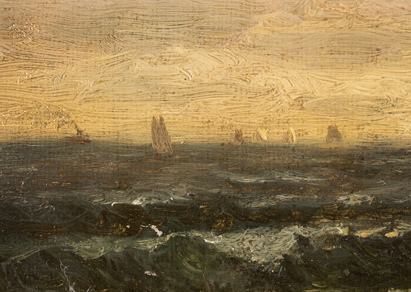 Edward Mitchell Bannister, Painting, Coastal Scene, Circa 1880s to Early 1890s Oil on canvas laid on wood board, original gold gilded gesso frame, detail view 3