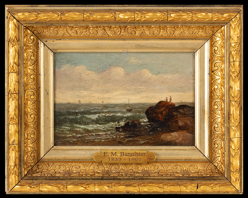 Edward Mitchell Bannister, Painting, Coastal Scene, Circa 1880s to Early 1890s Oil on canvas laid on wood board, original gold gilded gesso frame, entire view
