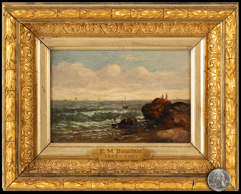 Edward Mitchell Bannister, Painting, Coastal Scene, Circa 1880s to Early 1890s Oil on canvas laid on wood board, original gold gilded gesso frame, scale view