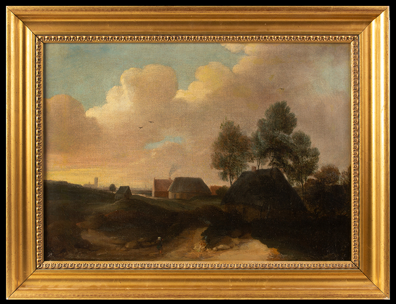 Painting, Old Masters Dutch School, Village Scene Anonymous, 17th or 18th Century Oil on canvas A man walks the lane to a small village with church steeples in the distance, entire view