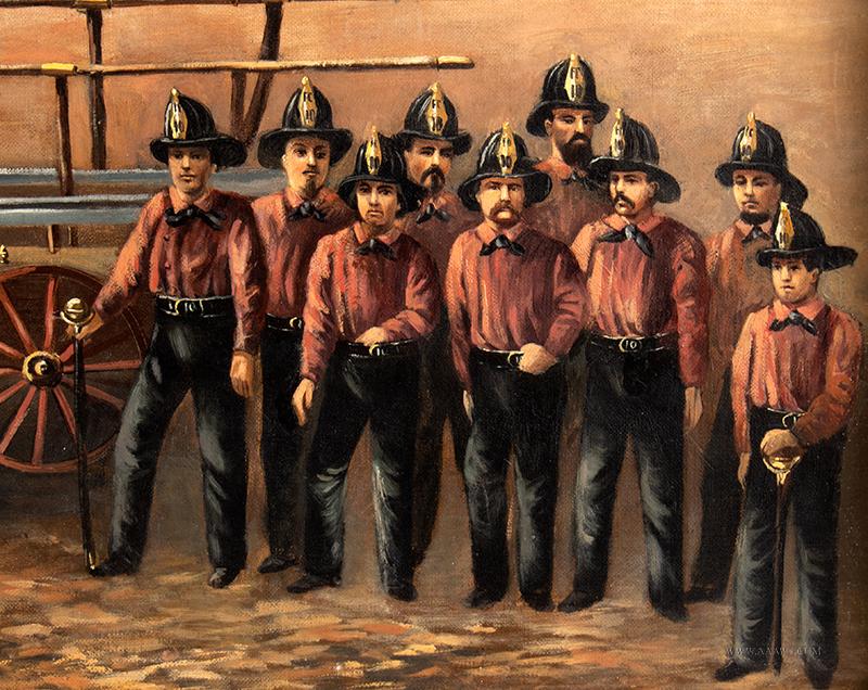 Volunteer Fire Department Painting,  Torrent 10, Hand Pumper detail-2