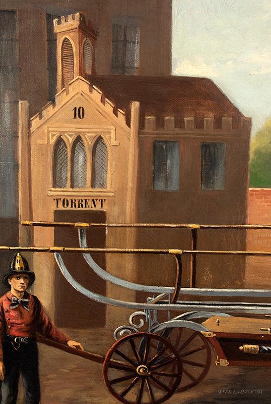 Volunteer Fire Department Painting,  Torrent 10, Hand Pumper detail-4