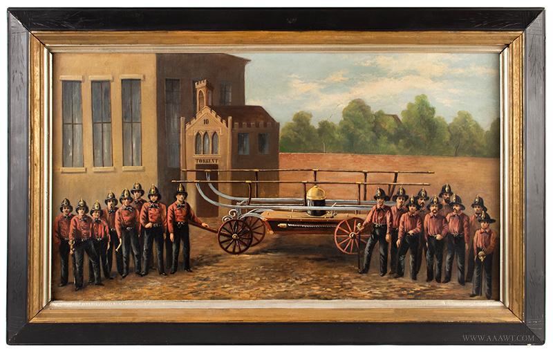 Volunteer Fire Department Painting,  Torrent 10, Hand Pumper entire
