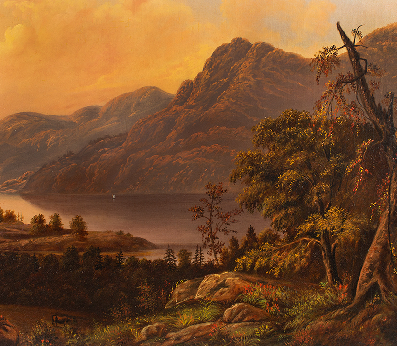 Antique Painting, Hudson River Valley Landscape by James B. Hope (1818-1892) Oil on canvas, original stretcher and gilt frame, detail view 2