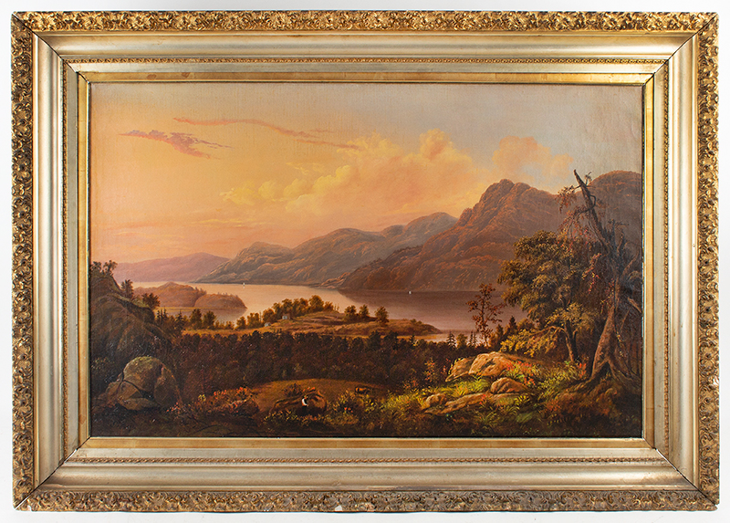 Antique Painting, Hudson River Valley Landscape by James B. Hope (1818-1892) Oil on canvas, original stretcher and gilt frame, entire view