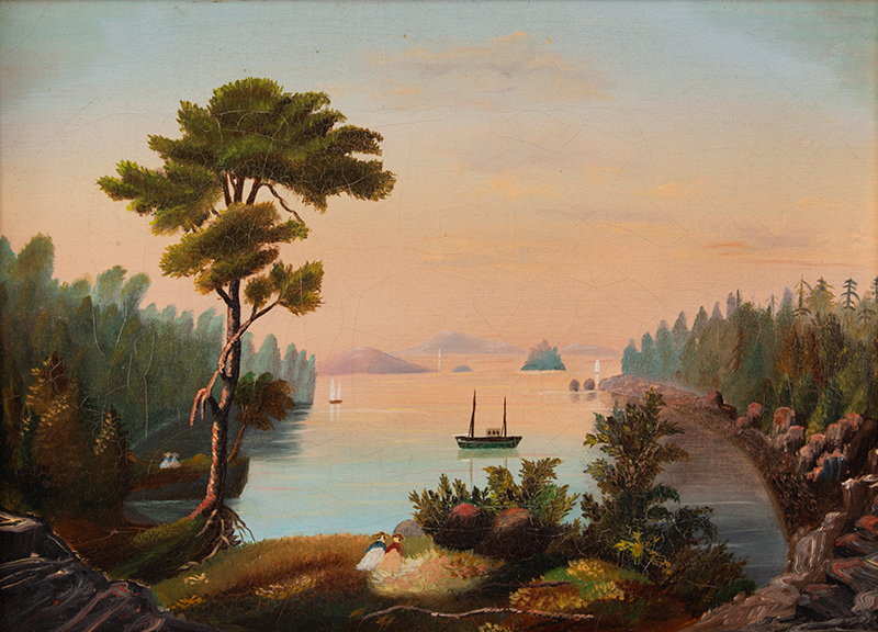 19th Century Painting, Landscape, Waterscape, Diamond Cove, Charles Codman Great Diamond Island, Maine, originally an artistic retreat community… Oil on Canvas, Attributed to Charles Codman (1800-1842), entire view sans frame