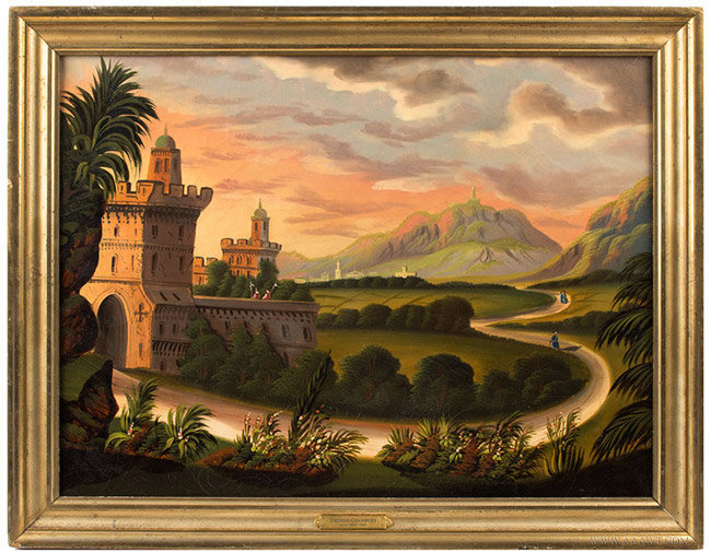 Landscape Painting, Mountain and Castle