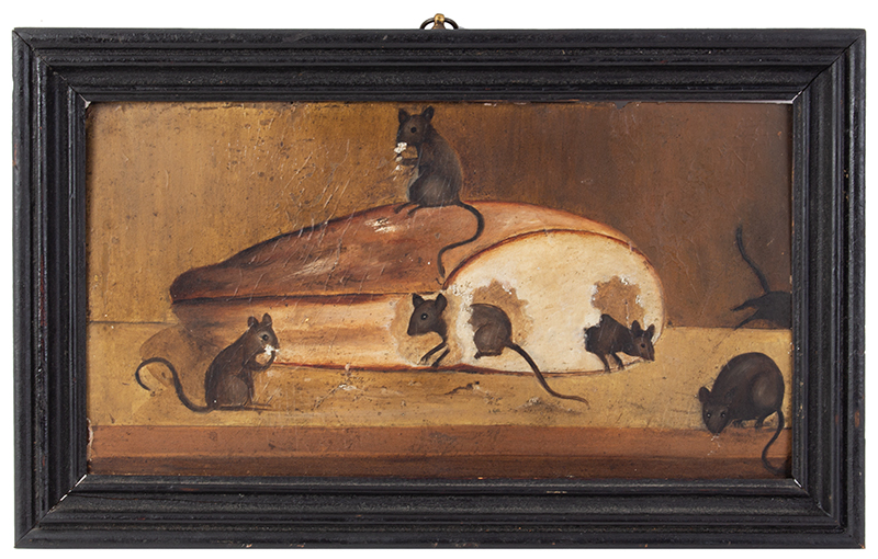 Antique Folksy Painting, Mice eating Bread Anonymous, 19th Century Oil on Academy Board, entire view