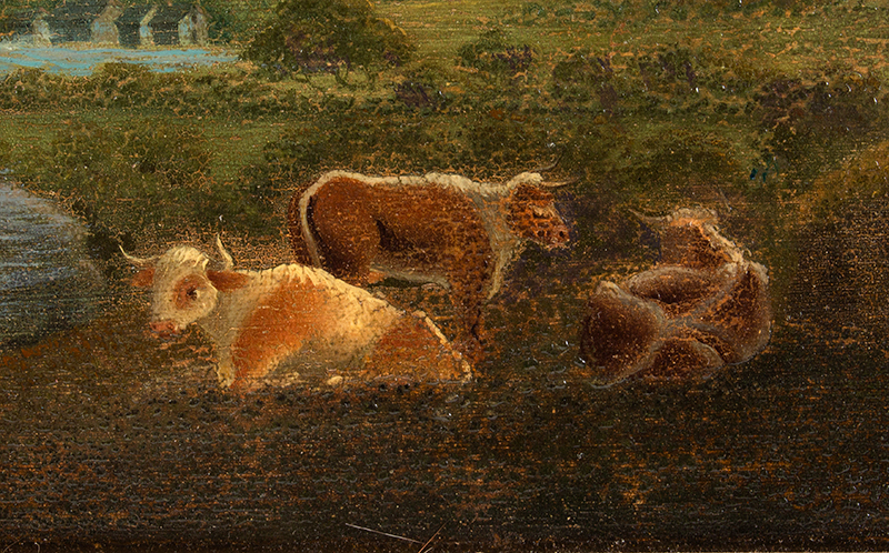 Painting, Mountainous Landscape with Cows Anonymous, circa 1880-1900ish Oil on academy board, detail view