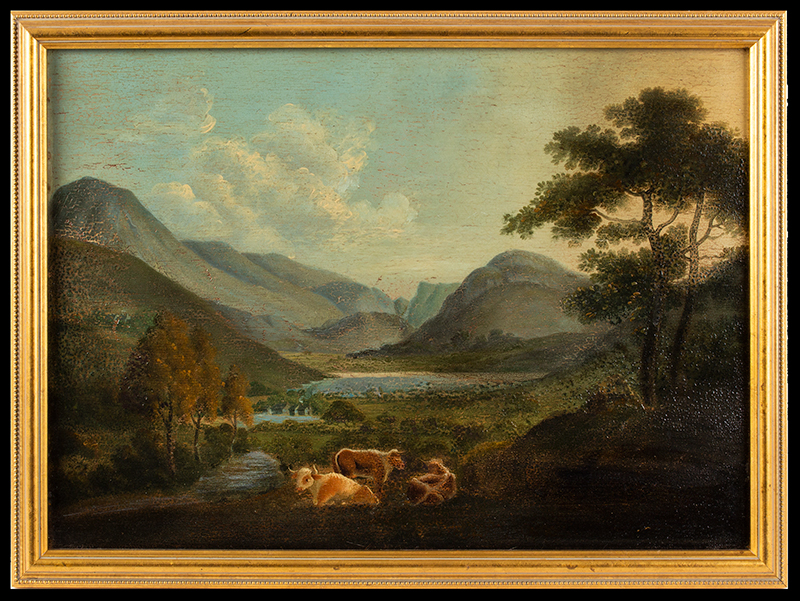 Painting, Mountainous Landscape with Cows Anonymous, circa 1880-1900ish Oil on academy board, entire view