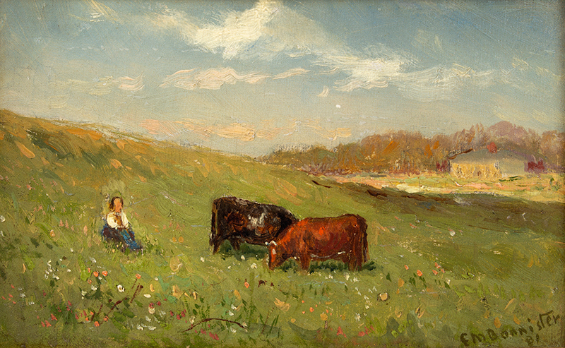 Painting, Edward Mitchell Bannister, Pastoral Scene, Signed & Dated 1881 Edward Mitchell Bannister (1828 - 1901),entire view sans frame