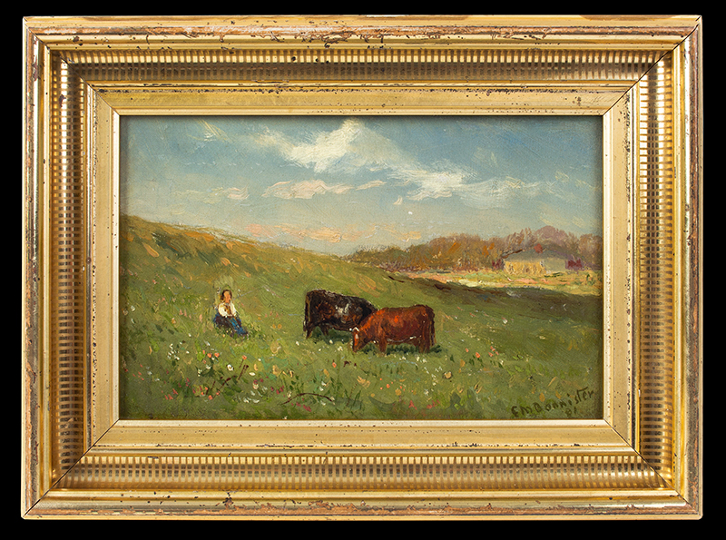 Painting, Edward Mitchell Bannister, Pastoral Scene, Signed & Dated 1881 Edward Mitchell Bannister (1828 - 1901), entire view