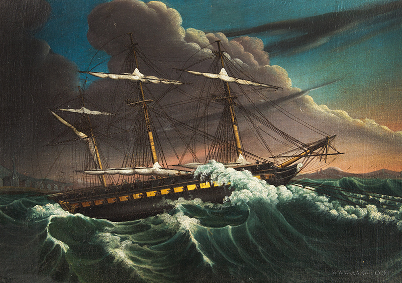 Painting, Frigate in Rough Waters J. Leman Oil on canvas, c. 1820 – 1840