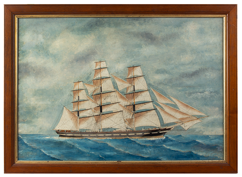 Antique Ship Portrait, Fully Rigged Carnation Castle Purportedly Painted by Ship's Carpenter, circa 1870s By Decent in the Original Owner's Family [Dwight Whiting] Mr. Whiting booked passage from Cape Town, South Africa to New York Oil on canvas, original stretcher, and frame, entire view