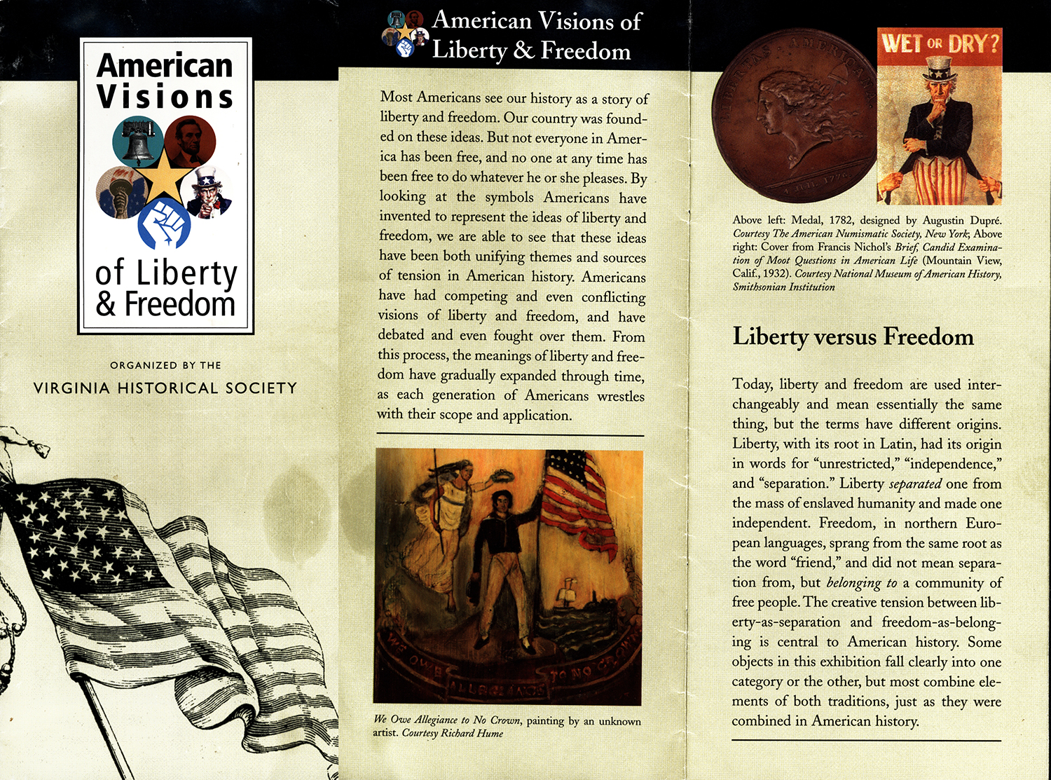 19th Century Allegorical Painting, WE OWE ALLEGIANCE TO NO CROWN Ms. Liberty & War of 1812 Sailor, Popular Symbol of American Pride Anonymous, after John Archibald Woodside, We Owe Allegiance to No Crown, brochure