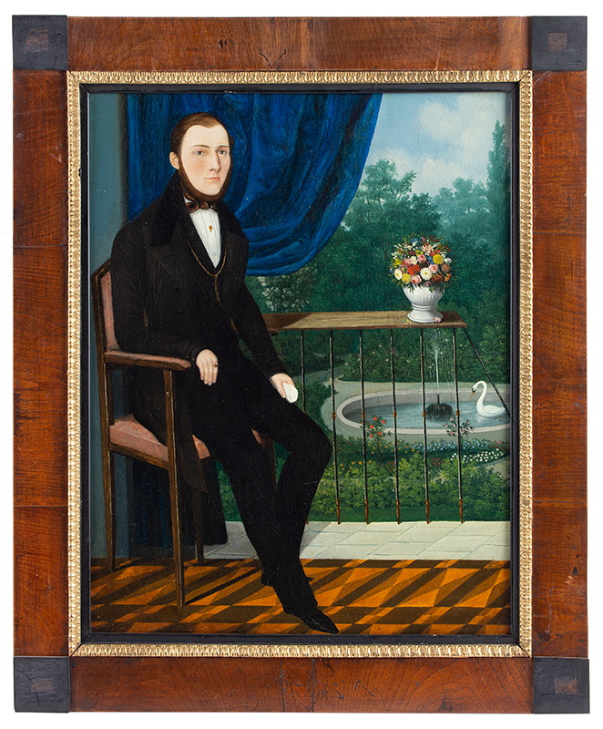 Portrait of Gentleman Seated Before a Draped Window, Garden, Fountain    English School, Circa 1850    Anonymous
