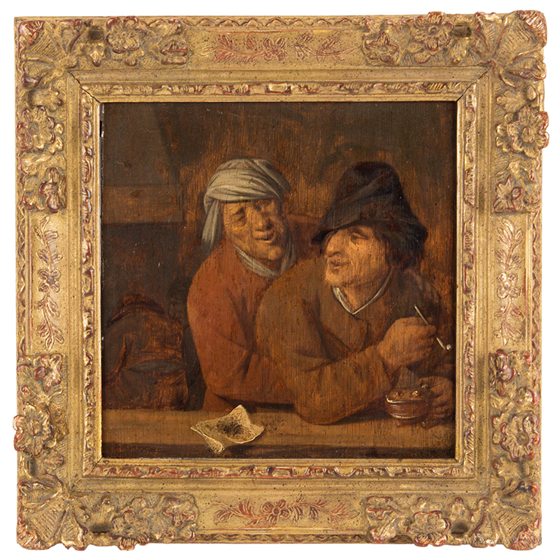 Oil Painting by Pieter Symonsz Potter (Enkhuizen 1597/1600-1652 Amsterdam) TWO PEASANTS SMOKING IN A TAVERN, entire view