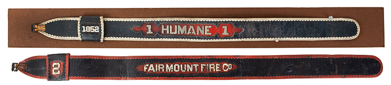 19th Century Volunteer Fireman's Leather Parade Belts, entire view 1