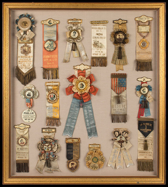 Ornate Framed Lot of Fire Department Parade Ribbons  New York and Pennsylvania Area  Late 19th to early 20th century, entire view