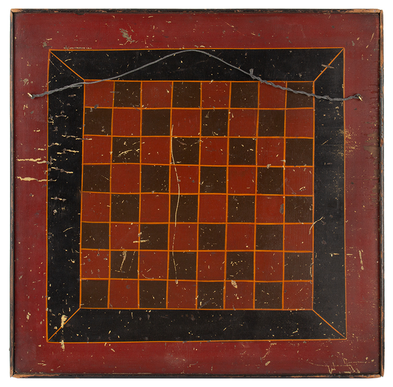 Antique Gameboard, Parcheesi and Checkers, Seven Colors  Unknown maker, 19th century, side 2