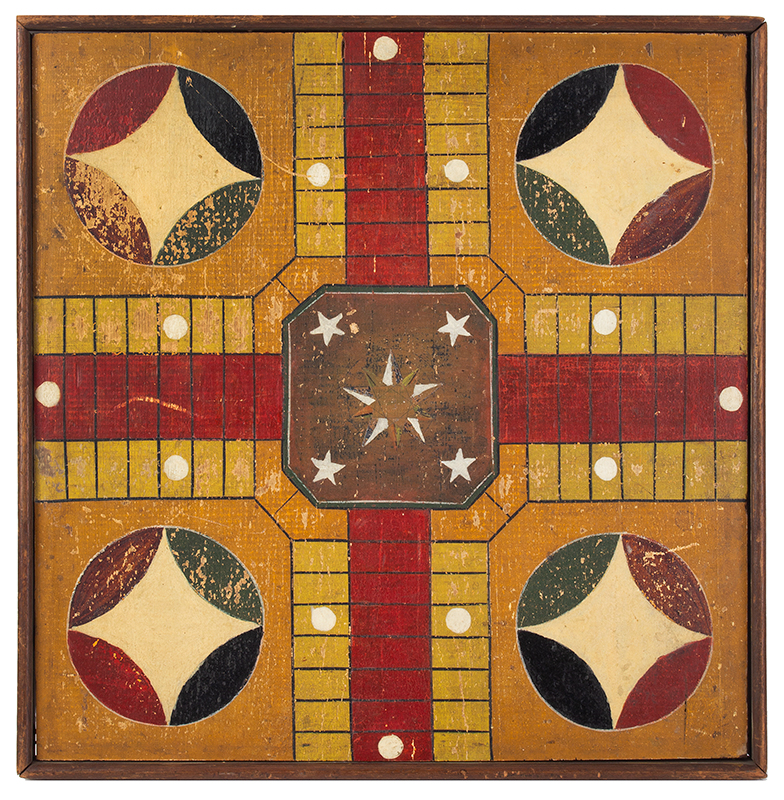 Antique Parcheesi Board, 9 Colors Unknown Maker, 19th Century Pine, walnut frame, entire view