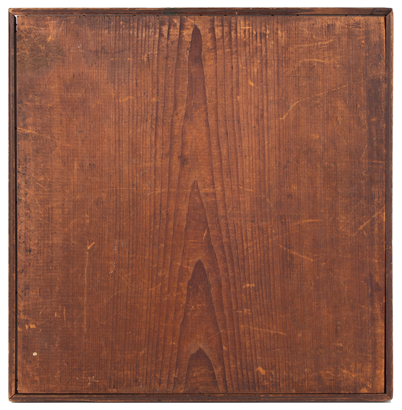 Antique Parcheesi Board, 9 Colors Unknown Maker, 19th Century Pine, walnut frame, back view